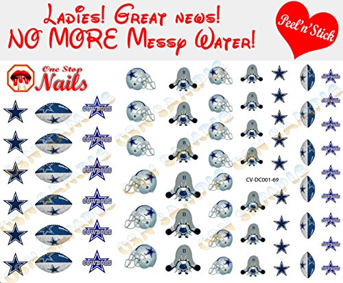 Cowboys Clear Vinyl PEEL and STICK (NOT Waterslide) nail decals/stickers V1. Set of 69. (OSN1)