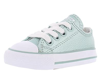 b36a95346d56 Converse Kids Chuck Taylor All Star Ox Infant Toddler Metallic  Glacier White White Girls Shoes  Amazon.co.uk  Shoes   Bags