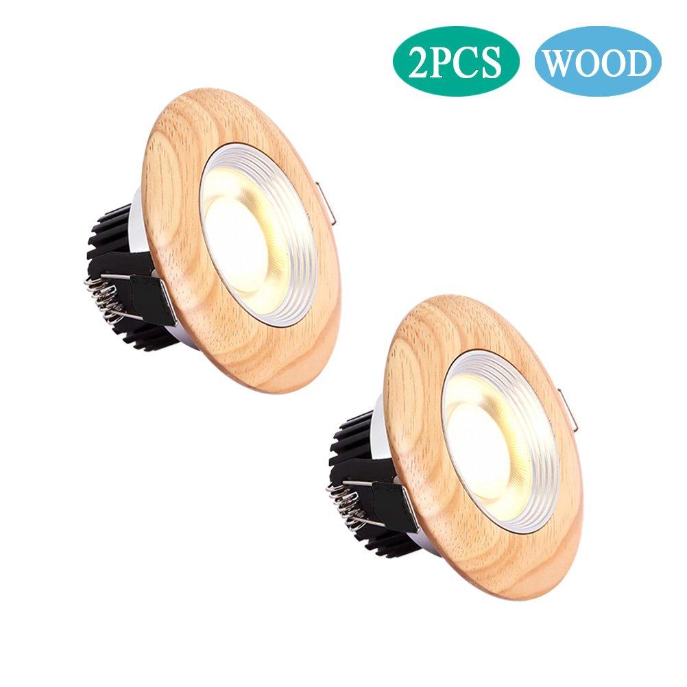 5w/12w Recessed Ceiling Light, Retrofit Wooden Spotlight Lighting Fixture Kit, Round Wood Spot Downlight, 3000K Warm White/6000K Daylight White (Warm White, 5w)