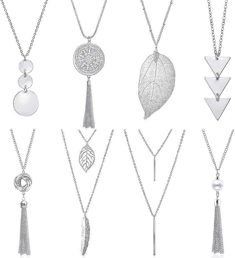 YWLI 8 PCS Long Necklaces for Women - Fashion Pendant Necklace Jewelry, Multi Layer Necklace, Tassel Necklace, Leaf Necklace, Y Necklace, Gifts for Women