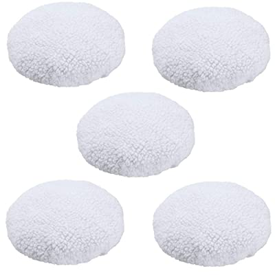 KingBra 5Pcs Car Polisher Pad Bonnet (9 to 10 Inches), Soft Microfiber Polishing Bonnet Buffing Pad Cover, Car Waxing Bonnet Waxer Pads for Car Polisher: Automotive