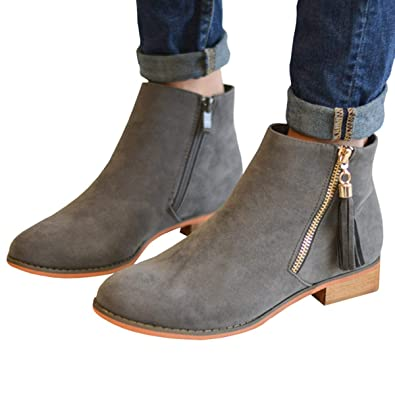 71142a2c67 Womens Leather Pointed Toe Stacked Low Heel Side Tassel Zipper Ankle Boots( Grey 5 M