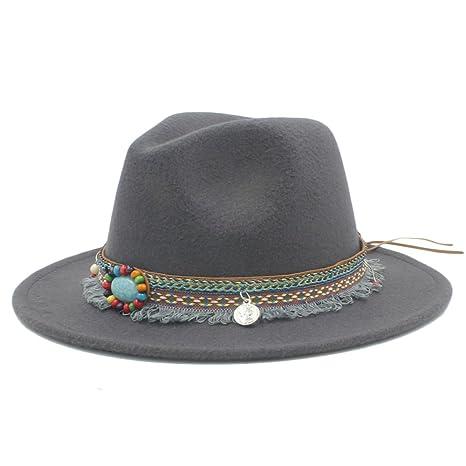 Best Choise Gorro Ancho de Lana para Mujer Sombrero Fedora Panama Sombrero  Sombrero Fieltro Lady Jazz 8079b846e60a