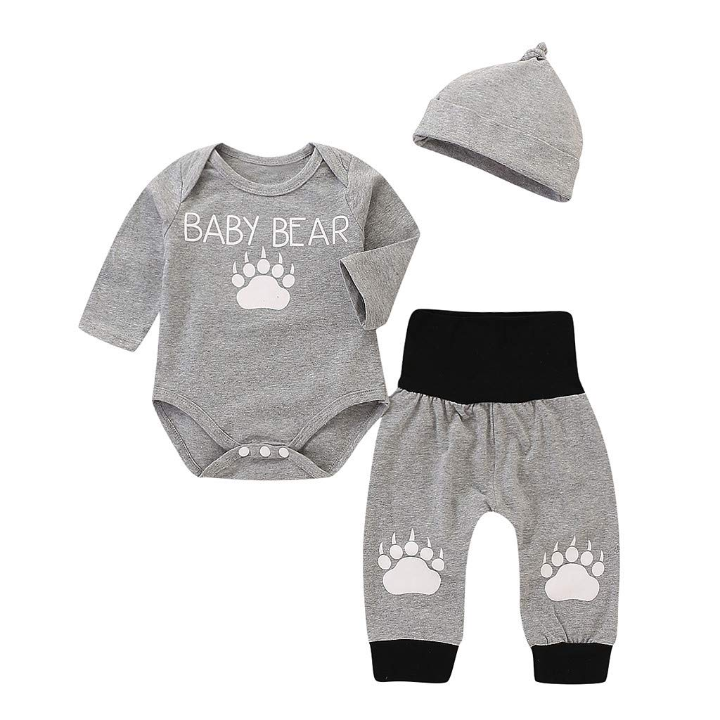 Pant waitFOR 3-24 Months Baby Boys Girls Letter Print Long Sleeves Romper Tops Hat Jumpsuit Overalls Outfit Sleepwear Pajamas Infant Rompers Tracksuit Playsuit Nightwear