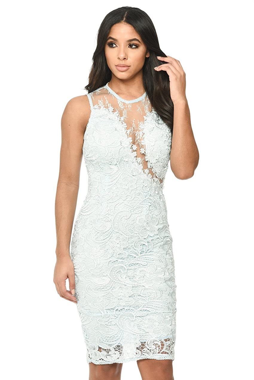 9bf76351ca Let this sleeveless lace and mesh bodycon midi dress hug your curves this  season! Fabric Composition: 100% Polyester