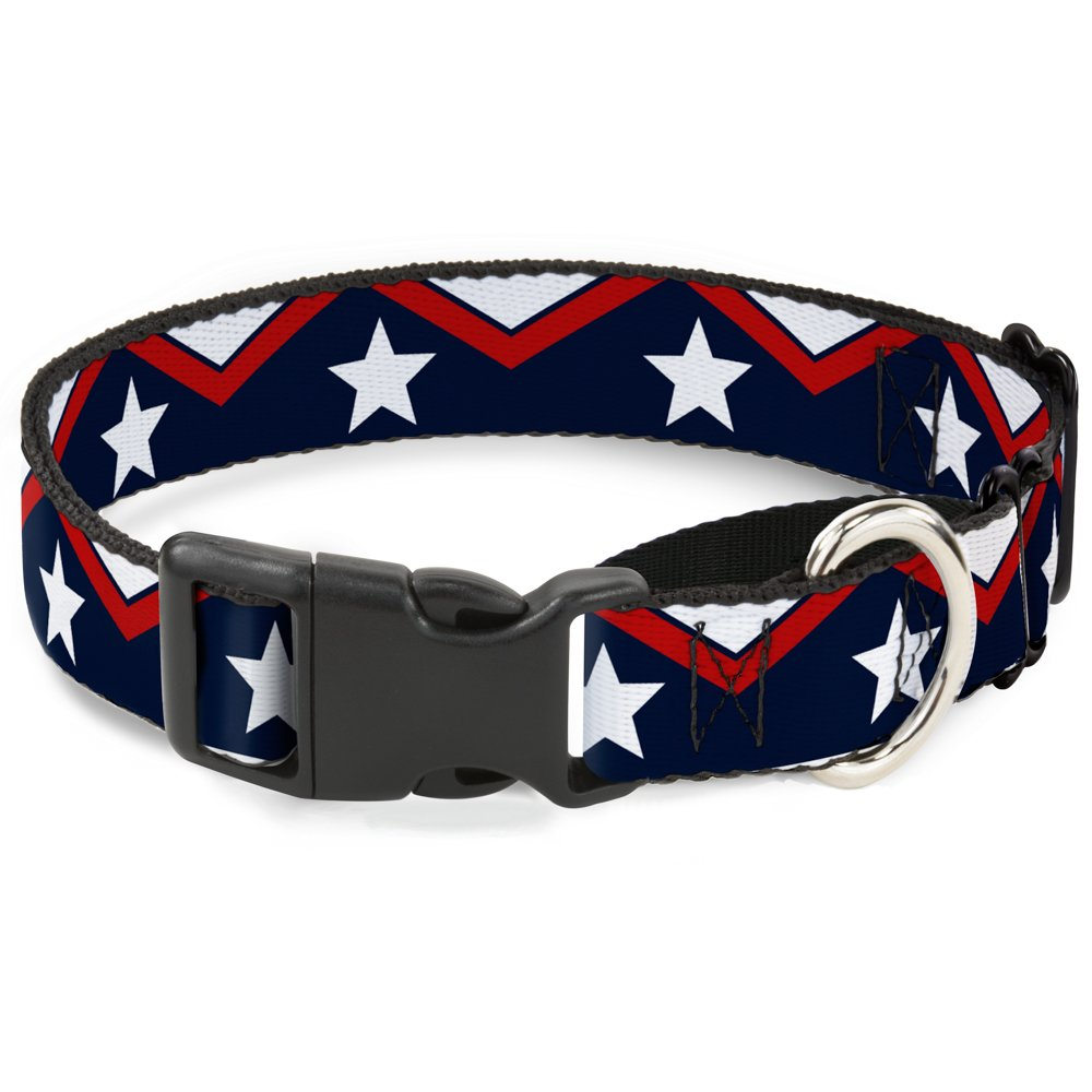 Buckle-Down American Chevron & Stripes White Red bluee Martingale Dog Collar, 1  Wide-Fits 11-17  Neck-Medium