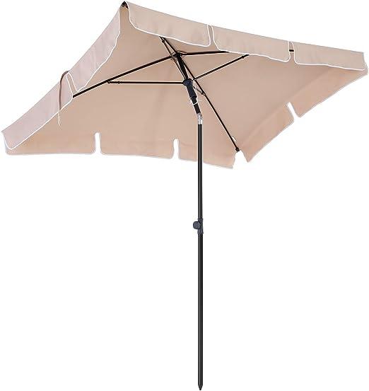 SONGMICS Sombrilla de Jardín Rectangular, Parasol, Protección ...