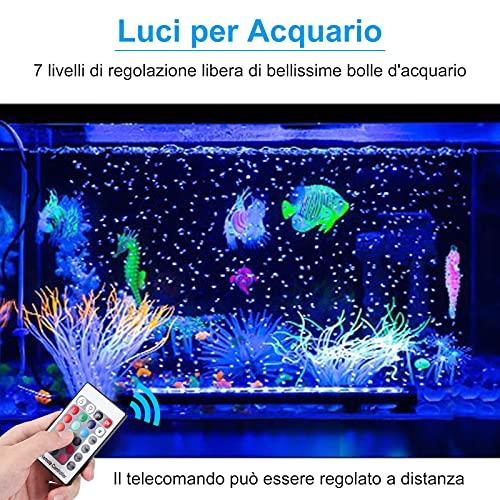 Luce LED per Acquario, Con Funzione Bolla, Illuminazione Acquario, Impermeabile Resistente Calore Telecomando Luci, Luce Subacquea RGB Multicolore, per Acquario, Acqua Salata, Acqua Dolce (32 cm)