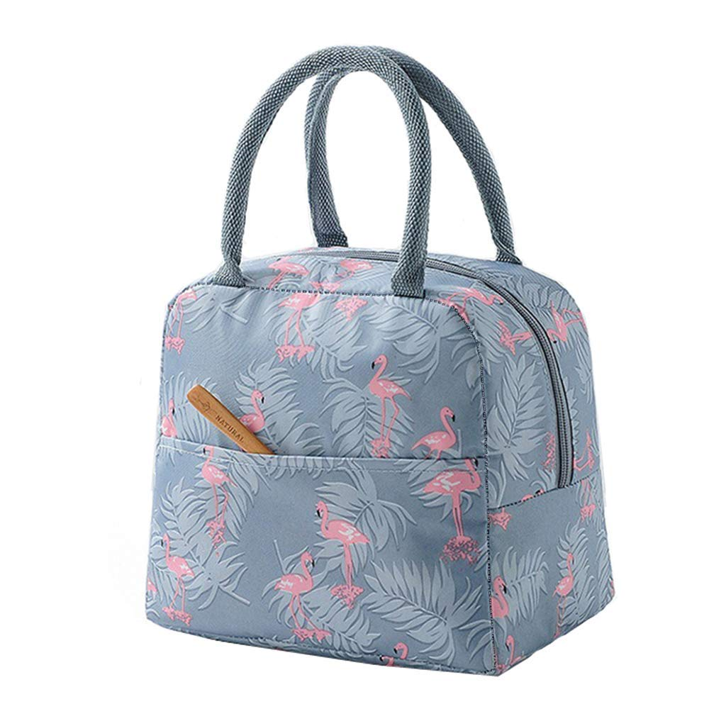 Cool Bags for Lunch, Foldable Lunch Bag Portable Storage Bag Cooler Insulated Waterproof Pinic Bags for Women Girls (Flamingo)