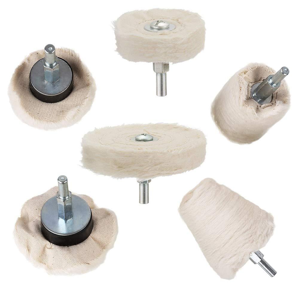 color blanco cono herramienta para metal de aluminio joyas Gobesty columna 6 unidades de algod/ón acero inoxidable Rueda de pulido para coche hongo rueda en forma de T