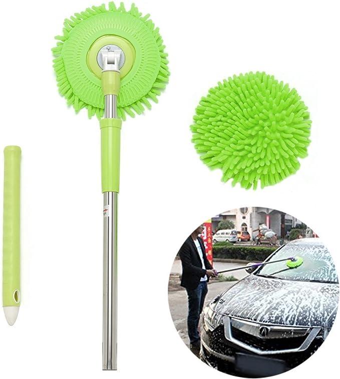 Meiwash 360 Grad Nass Mop Microfaser Chenille Flexible Griff Auto Clean Wash Mop Plus Handtuch Kopf Green Mop Green Head Auto