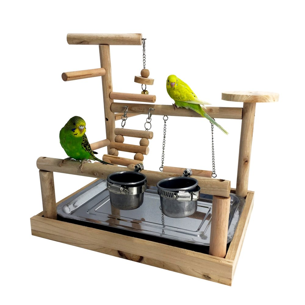 Borange Parrots Playstand Bird Playground Wood Perch Training Stand Cockatiel Playpen Ladders Birds Swing Wood Gym Tabletop with Feeder Cups Toys Exercise Play (Design B)