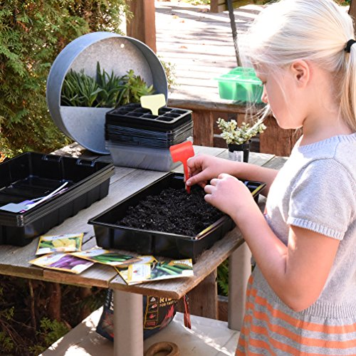 10 Strong Plant Growing Trays (Without Holes) - Durable, Reusable and Recyclable - Grow Plants, Start Seeds, Useful for your greenhouse and for Hydroponics - PACK OF 10 + FREE PLANT LABELS