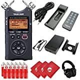 TASCAM 4-Track Portable Digital Recorder with Headphones, Recording Accessory Pack, External Battery Pack, AC Power Adapter, 12pcs AA Batteries and 3pcs Microfiber Cloth (DR-40)