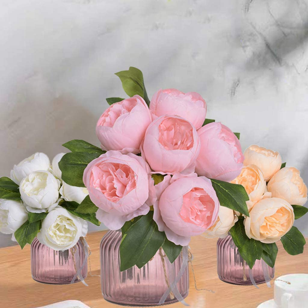 scamper 6-Head Bunch of Artificial Flowers Peony Bouquets Wedding Silk Home Garden Party Bridal Bouquet Faux Flower Decor
