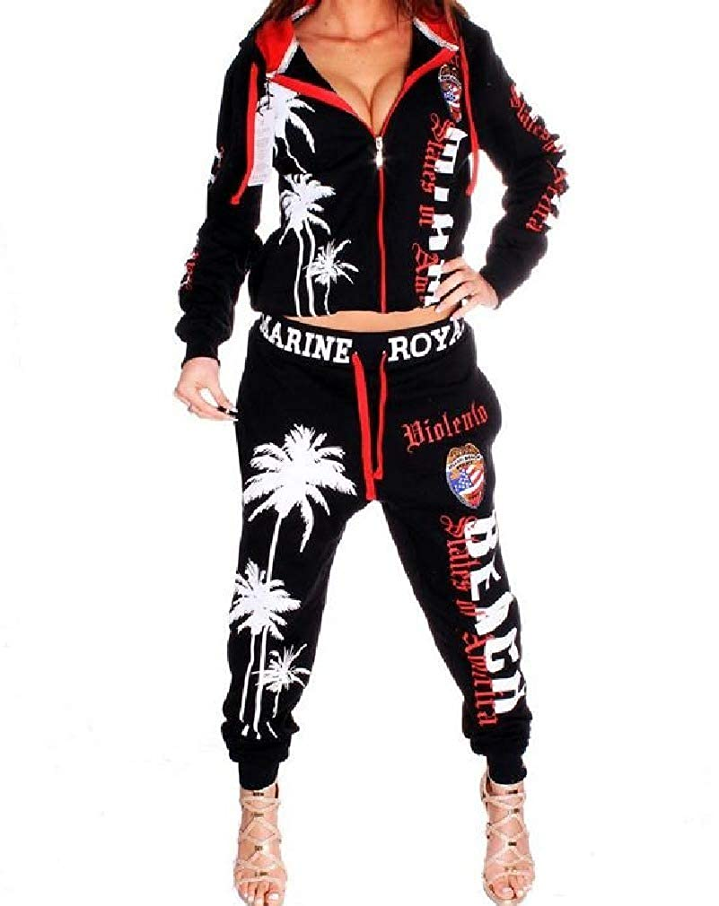 cheelot Womens Jacket and Pants Sporty Aloha Letter Printed Hood Tracksuit