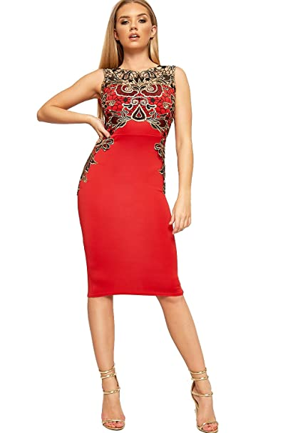 WearAll Womens Floral Embroidered Lace Sleeveless Stretch Bodycon Party Dress - Red - US 6 (UK 10) at Amazon Womens Clothing store: