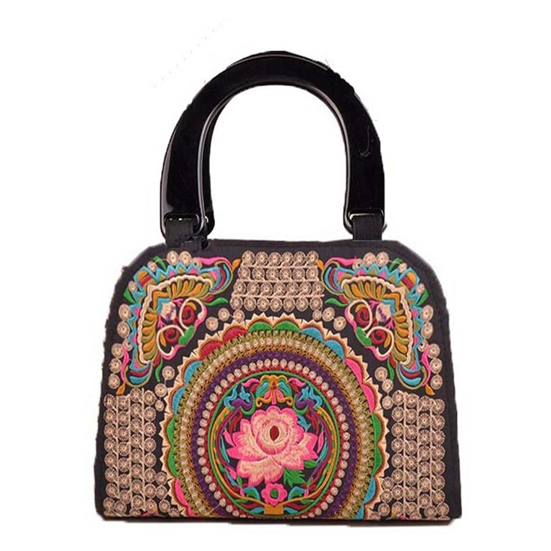 Generic Women's Bohemia Wooden Handle Canvas Handbag