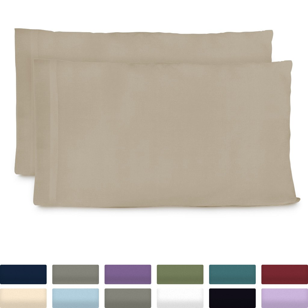 Cosy House Collection Luxury Bamboo Standard Size Pillowcases - Tan Pillowcase Set of 2 - Ultra Soft & Cool Hypoallergenic Natural Bamboo Blend Cover - Resists Stains, Wrinkles, Dust Mites