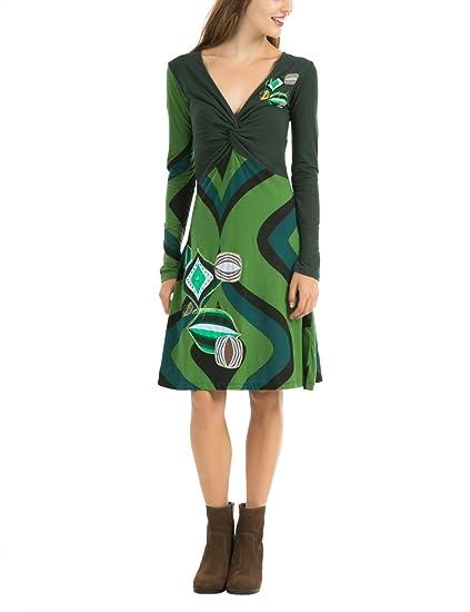 Desigual Imprimé Manches Robe Patineuse Longues Yacone Femme W9IHEeD2Y