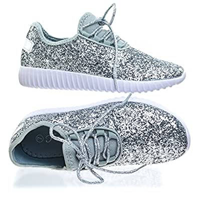 Forever Link Womens Closed Round Toe Sparkling Glitter Lace Up Fitness Trainer Gym Fashion Sneakers (5 B(M) US, Silver)