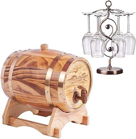 Opinión sobre Barril de roble La madera de roble del barril de vino Decanter, whisky barril dispensador for servir Tabla Inicio Accent almacenaje de la exhibición de los espíritus, licores, whisky retro Vino, cerve