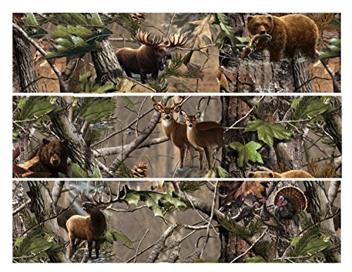 Mossy Oak Camo Hunting Deer Bear Elk Turkey Edible Icing Image Cake Border Strips (3 Strips)