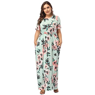 9e01aaf3890 OPSLEA Tunic Maxi Dress Plus Size Floral Print Empire Loose Long Dress with  Pocket Light Green