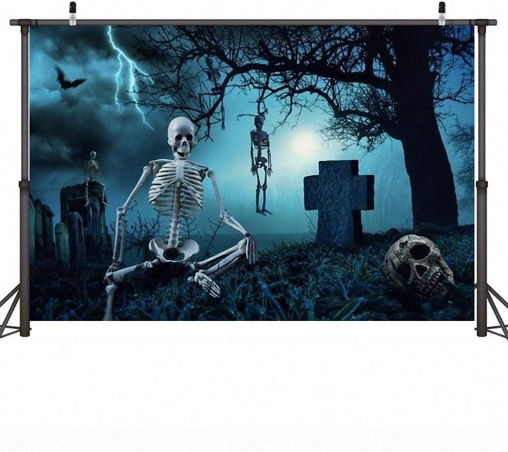 5X3ft Halloween Photo Background Wall Halloween Cemetery Skull Backdrop Newborn Baby Shower Vinyl Photography Backdrops Creepy Tombstone Product Photo Backdrop Wall Background Cloth Photo Studio Props