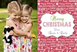 30 Christmas Family Kids Photo Card Red White Words Greeting Personalized Cards Photo Paper