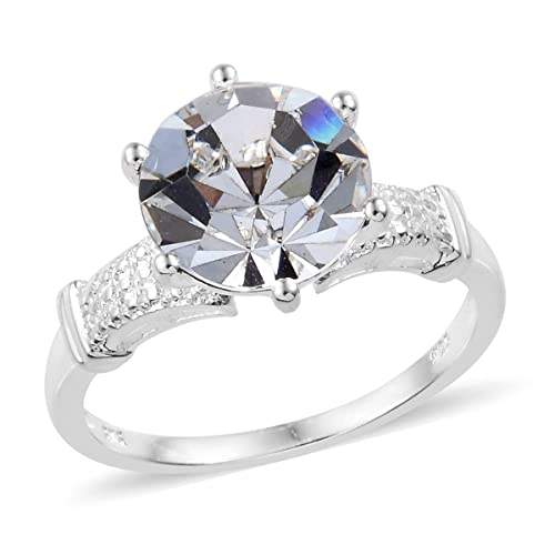 4d1128522b7 Womens 925 Sterling Silver Round Swarovski White Crystal Engagement Ring  for Women Size 5 Cttw 3.2