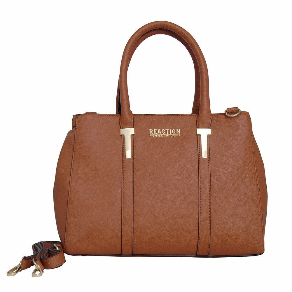 Kenneth Cole Reaction KN1860 Triple Entry Harriet Satchel Handbag (TAN)