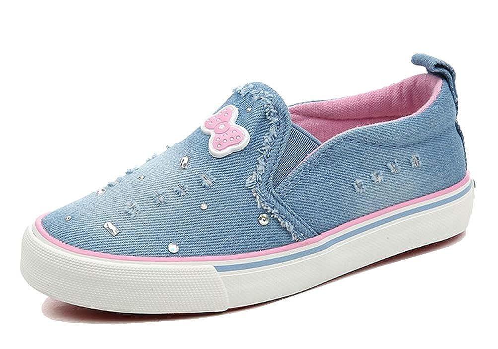 iDuoDuo Girls Lovely Bowknot Slip On Loafers Denim Rhinestone Canvas Shoes Toddler//Little Kid//Big Kid