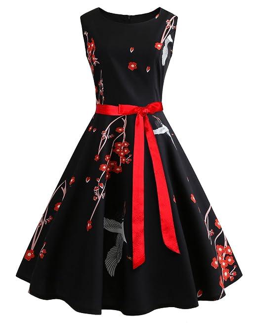 LaoZanA Vestido de Fiesta para Mujer Corto Vestidos para Boda Sin mangas Impresión Blanco Crane con
