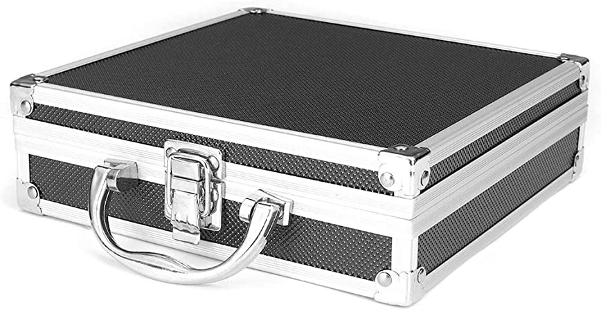 Estuche de aluminio Caja de herramientas Maletín Estuche de almacenamiento Esponja dentro Organizador de aleación de aluminio Estuche rígido Estuche de herramientas práctico Estuche de transporte: Amazon.es: Hogar