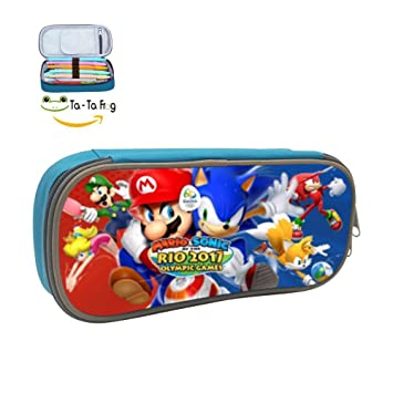 662adc550df3 Sonic VS Mario DIY Small Pencil Case Pen Box Cosmetic Bag With Funny ...