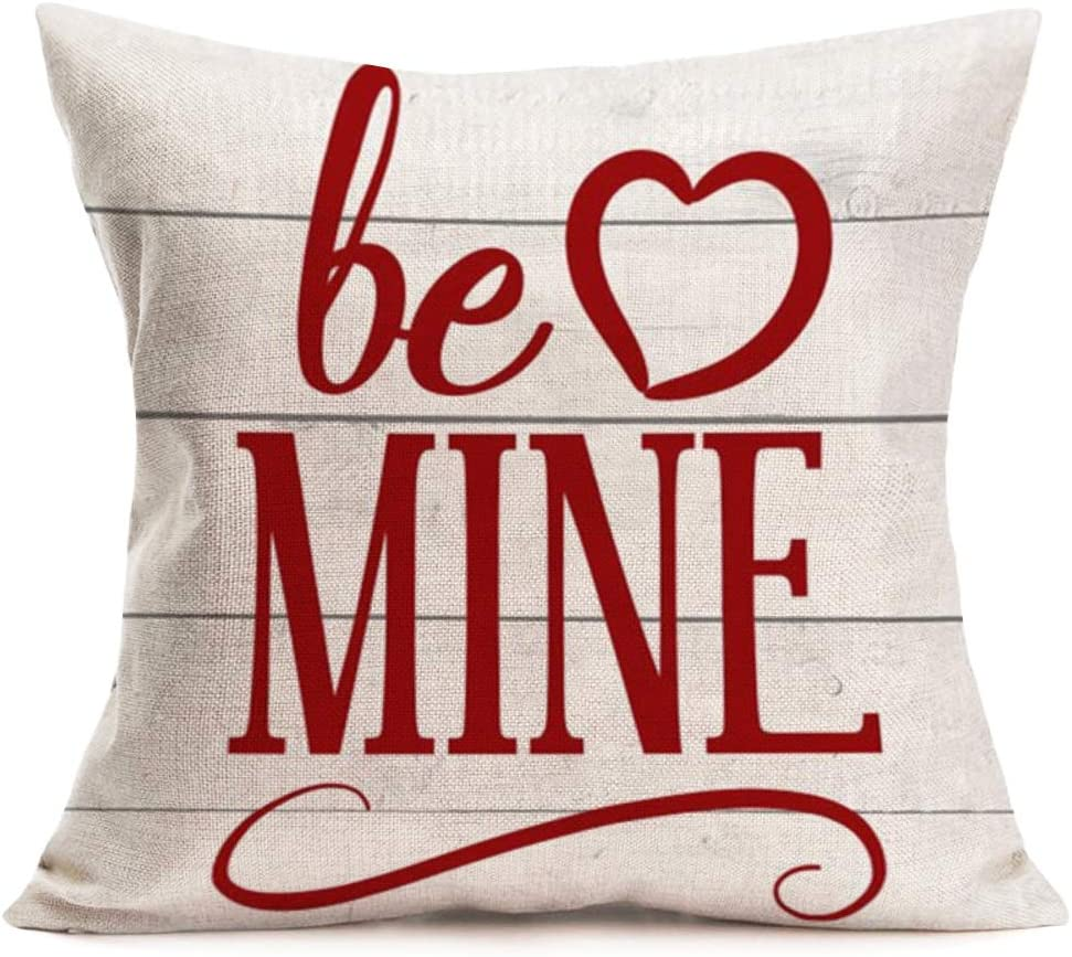 Amazon Com Fukeen Wood Background Cotton Linen Throw Pillow Cases Sweet Quotes Be Mine Cushion Cover Best Gifts For Lover Couple Wedding Anniversary Home Decorative Standard 18x18 Inches Pillow Protectors Home Kitchen