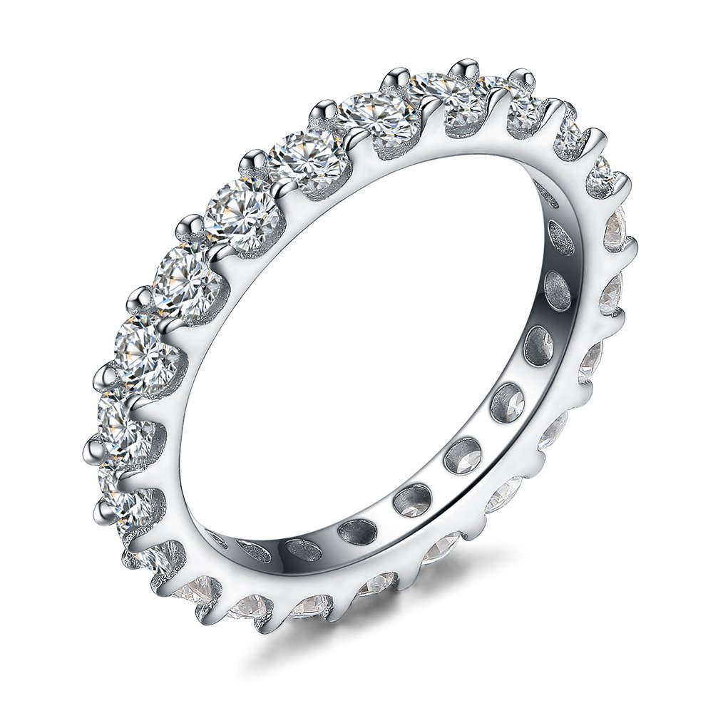 LicLiz Sterling Silver Round Cubic Zirconia All Around CZ Eternity Wedding Band Ring 3mm size 6