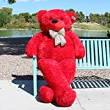 "Enormous 91"" (7 foot 7 inch) CRIMSON RED Teddy Bear Fully Stuffed Plush Toy from Joyfay"