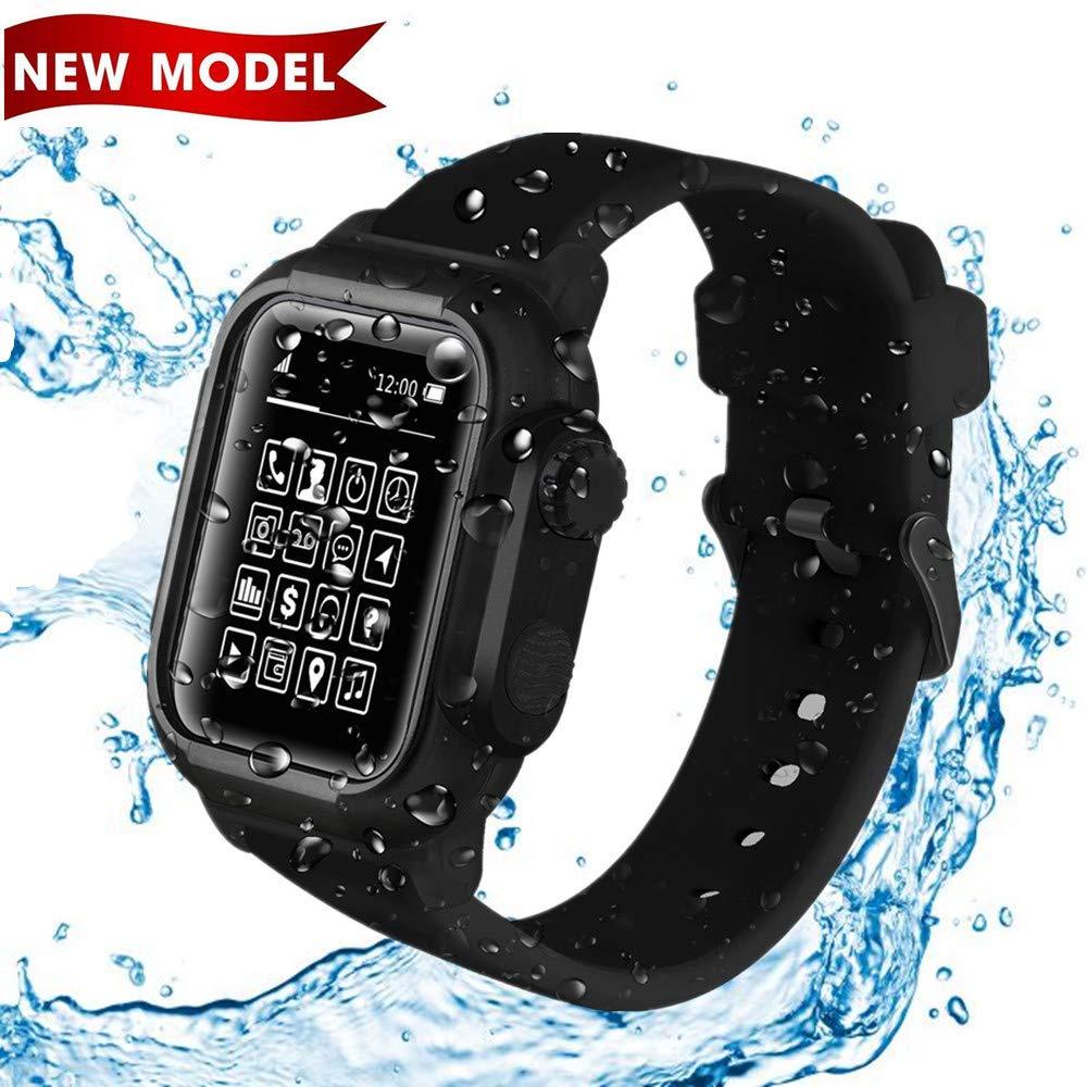 Waterproof Case for Apple Watch 44mm -IP68 Waterproof Shockproof Impact Resistant+Premium Soft Silicone Apple Watch Sport Band/Drop-Proof Apple Watch Case -Compatible iWatch Series 4 (Black)