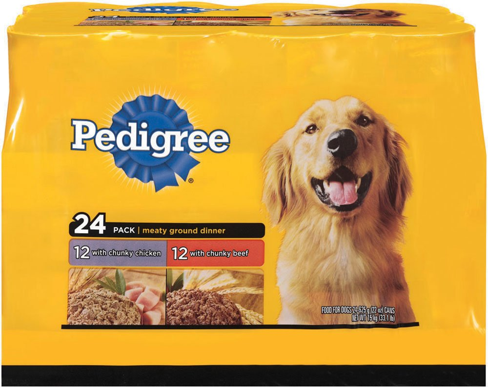 Pedigree Meaty Ground Dinner Multipack Chicken And Beef Canned Dog Food 22 Ounces (Pack Of 24) by Pedigree