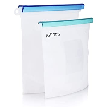 Big Eco Reusable Food Storage Bags - Large Size + Medium Size - Pure Silicone  sc 1 st  Amazon.com & Amazon.com: Big Eco Reusable Food Storage Bags - Large Size + Medium ...