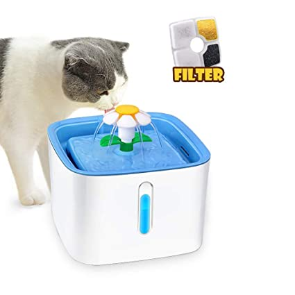 JFUNE Fuente de Agua para Gatos, Bebedero para Mascotas para Perros,Dispensador automático de Fuente para Mascotas de 2,4 Modos y 2,4 litros con 1 ...