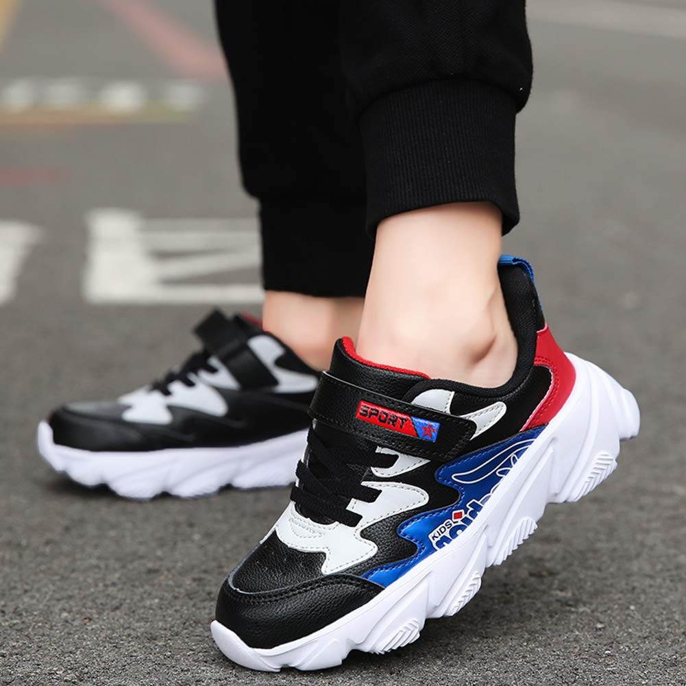 Moda ni/ños Zapatillas de Deporte de Microfibra de Cuero de imitaci/ón de Las Partes Superiores de Anti Slip Calzado Deportivo para Correr y Athletic 28 Azul de la UE