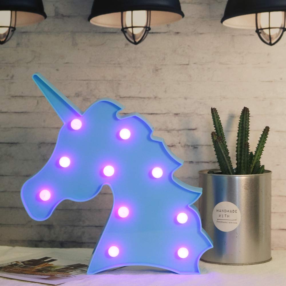 Unicorn LED Night Lamp Decorative Marquee Signs Blue Unicorn Purple Light for Party Supplies -Wall Decoration for Living Room,Bedroom (Blue Unicorn Head Purple Light)