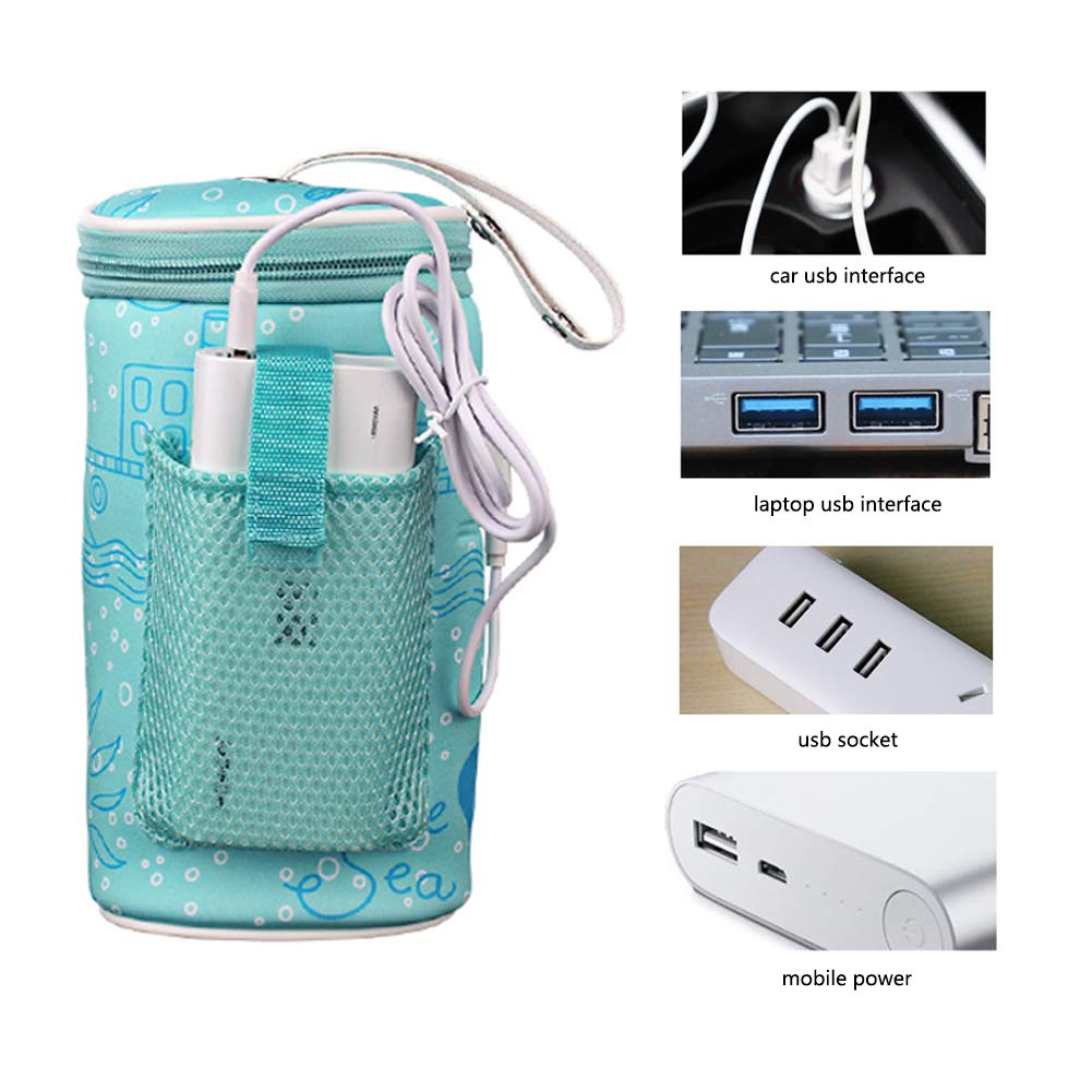 Baby Bottle Warmer Bags TSY Bottle Tote Bag Portable USB Heating Intelligent Warm Breast Milk Insulated Tote Bag