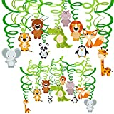 Supla 30 Pcs Jungle Animals Hanging Swirl Streamers Decorations Green Safari Party Forest Animal Party Swirls Foil Hanging Ceiling Décor Swirl Streamers with Assorted Animal Cutouts for Baby Shower Kids 1st Birthday Nursery School Classroom Bedroom Bathroom Table Ceiling Decor