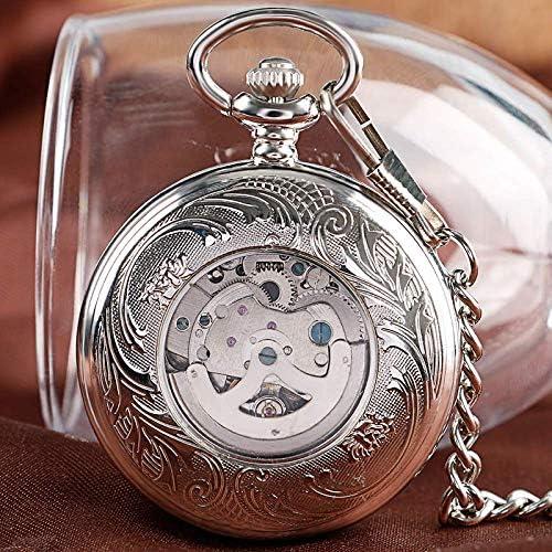 懐中時計、懐中時計スタイリッシュなファッションはチェーンクラシックペンダントで機械式時計を巻き上げます