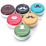 Rack Jack Round Storage Zipper Case Pouch Bag For Earphone / USB / Pendrive Carry Multipurpose Use Gifts for Girls / Return Gift for Birthday / Kids /Unisex - Assorted Colour / Design - 1 Piece - Hipster Moustache