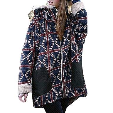 b49a6e6adb0 Forthery Clearance Women s Plus-Size Full Zip Fleece Pullover Hoodies  Pocket Jacket(Navy